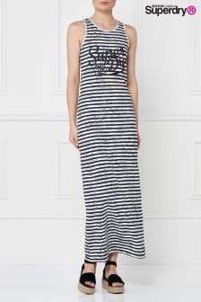 Superdry Mono Palm Stripe Lagoon Logo Maxi Dress