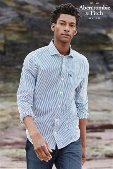 Abercrombie & Fitch White/Blue Stripe Shirt