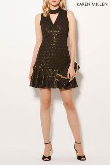 Karen Millen Black Metallic Clip Geo Collection Dress