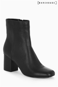 Warehouse Black Square Toe Block Ankle Boot