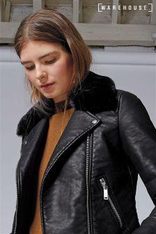 Warehouse Black Fur Collar Faux Leather Jacket