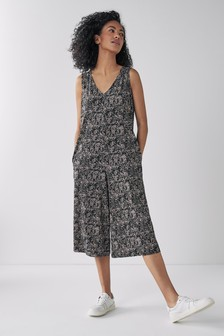 Navy Linen Blend V Back Broderie Dress