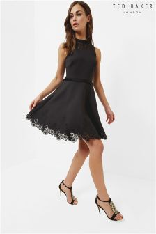 Ted Baker Black Zaffron Embroidered Skater Dress