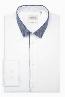 Slim Fit Contrast Collar Shirt
