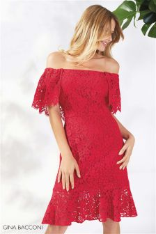 Gina Bacconi Red Maria Shoulderless Lace Dress