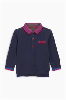 Long Sleeve Striped Collar Poloshirt (3mths-6yrs)