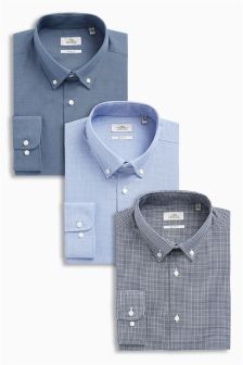 Regular Fit Shirts With Button Down Collars Three Pack