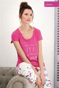 Joules Anna True Pink Jersey Pyjama Top