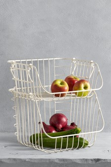 2 Tier Cream Fruit And Veg Holder