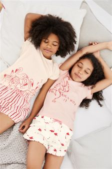 Flamingo Short Pyjamas Two Pack (3-16yrs)