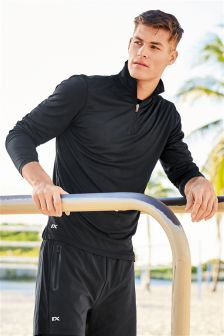 Long Sleeve Zip Neck Sports Top