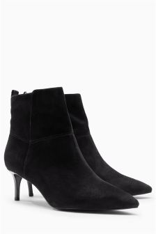 Leather Kitten Heel Ankle Boots