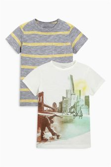 Skate And Stripe T-Shirts Two Pack (3-16yrs)