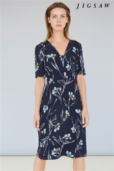 Jigsaw Navy Floating Aster Tea Dress