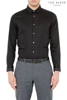 Ted Baker Plain Poplin Black Shirt