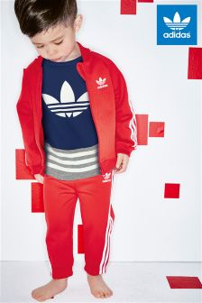 adidas Originals Red Infant 3 Stripe Tracksuit