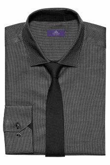 Slim Fit Puppytooth Shirt And Tie Set