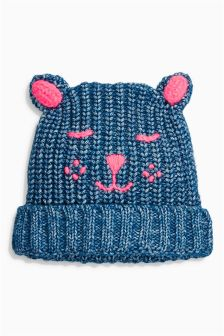 Embroidered Cat Hat (Younger Girls)
