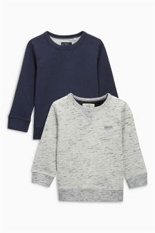 Textured Crew Neck Sweaters Two Pack (3-16yrs)