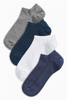 Textured Low Rise Trainer Socks Four Pack