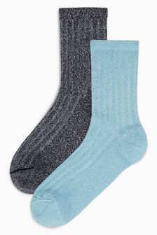 Lurex Rib Ankle Socks Two Pack