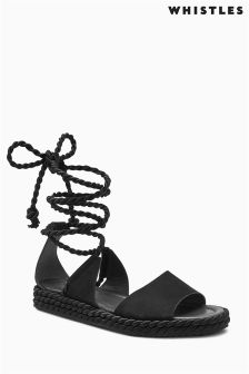 Whistles Black Rope Wrapped Flatform