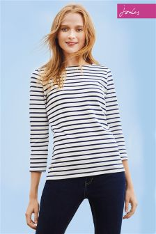 Joules Cream Navy Stripe Harbour Jersey Top