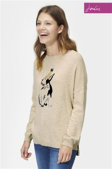 Joules Merry Oat Dog Sequin Knitted Jumper
