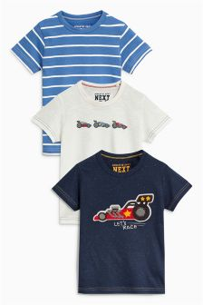 Short Sleeve Bouclé Car T-Shirts Three Pack (3mths-6yrs)