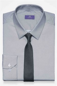 Slim Fit Textured Shirt And Tie Set