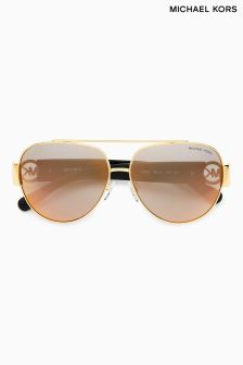 Michael Kors Gunmetal/Black Glitter Aviator Sunglasses