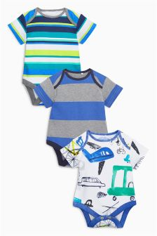 Transport Short Sleeve Bodysuits Three Pack (0mths-2yrs)