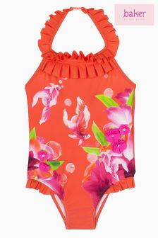 Baker By Ted Baker Pink Fish And Floral Halterneck Swimsuit