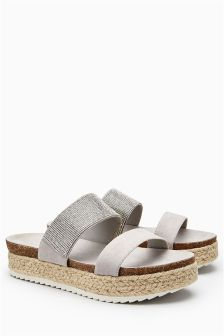 Diamanté Flatform Sandals