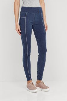 Sporty Seam Denim Leggings