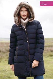 Joules Bilsworth Marine Navy Fur Trim Longline Padded Jacket