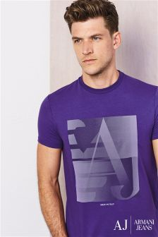 Armani Jeans Purple Graphic T-Shirt