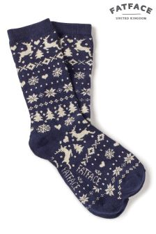 Fat Face Navy Fairisle Socks In A Bauble
