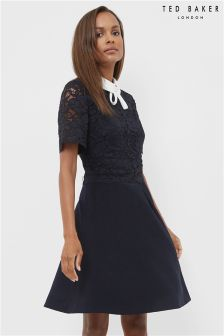 Ted Baker Navy Lace Bodice Double Layer Dress