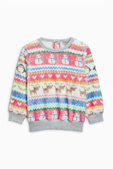 Fairisle Pattern Fleece Crew (3mths-6yrs)