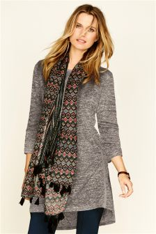 Oversized Longline Scarf Layer Top