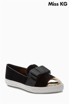 Miss KG Black Lisa Grosgrain Bow Gold Cap Slip On