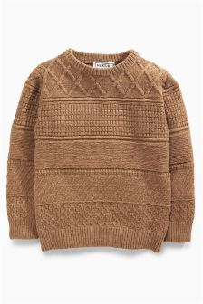 Textured Crew Neck Jumper (3-16yrs)