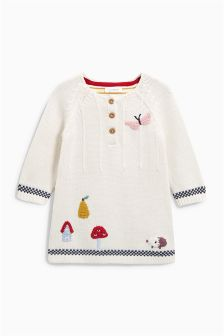 Embroidered Knitted Dress (0mths-2yrs)