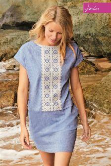 Joules Dana Chambray Embroidered Dress