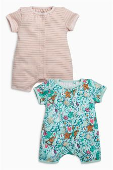 Mermaid Short Leg Rompers Two Pack (0mths-2yrs)