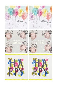 Set Of 6 Assorted Birthday Cards For Her
