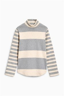 Stripe Brushed Long Sleeve Funnel Neck Top (3-16yrs)