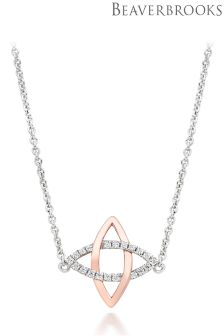 Beaverbrooks Silver Rose Gold Plated Cubic Zirconia Necklace