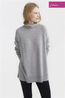 Joules Soft Grey Marl Eartha Drop Shoulder Roll Neck Jumper